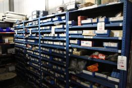Four bays of blue adjustable stores racking, 900 x 300 x 1900mm, excluding contents