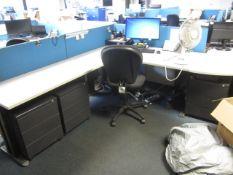 Grey melamine corner workstation, one semi circle end section, table, three under desk pedestals,