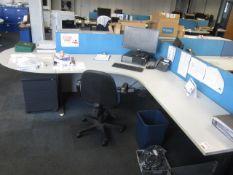 Grey melamine corner work tables, one table, one semi circle end section, under desk pedestal,