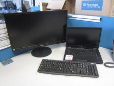 Dell Latitude E7450 Core i5 laptop, flat screen monitor, keyboard