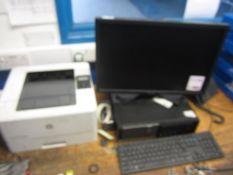 Dell Optiplex 790 computer system, flat screen monitor, keyboard, mouse, HP Laserjet AOM402dw