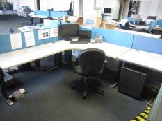 Grey melamine corner workstation, two tables, under desk pedestal, upholstered chair