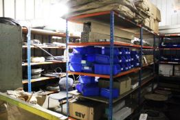 Eight assorted bays of orange & blue adjustable stores racking, 1220 x 780 x 2000mm, excluding