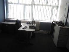 Grey melamine cover workstation with extension, half height tambour fronted storage cupboard,