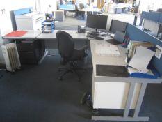 Grey melamine 4 section workstation with built in pedestal, undercounter pedestal, upholstered