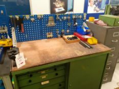 Unknown metal double sliding door tool cabinet with 12 drawers including contents