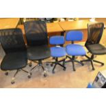 Five various office swivel chairs