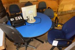 Blue circular table, approx 1.5m dia and 6 various cloth upholstered chairs, includes out of