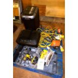 Contents of pallet to include Dewalt DC721 cordless drill, Dewalt DC390 cordless circular saw, two