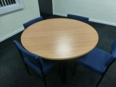Cherry effect 1200mm x 600mm office table, cherry effect 1.2m diameter circular table and 6 blue