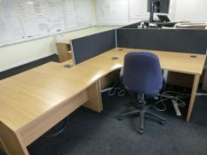 Furniture to F1 Office to include, 3 cherry effect 1600mm x 1200mm workstations with 7 three