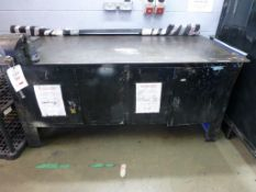 2000 x 1000mm x 870mm steel workbench with integral cupboards and Record No6 engineers vice