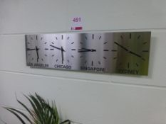 Wall mounted 4 time zone analogue clock