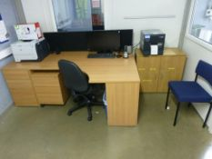 Furniture to Minder's office to include light wood effect workstation, double door cupboard, 2 3-