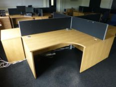 4 cherry effect 1600mm x 1200mm workstations with 1 matching 3 drawer pedestal and 4 x 400mm high