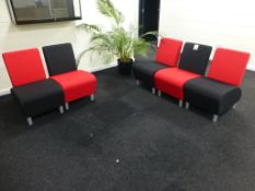 5 red/black fabric upholstered reception chairs