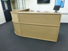 Light oak effect 2.4m x 2.4m curved reception counter/desk unit with 2 matching 3 drawer