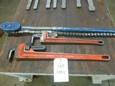 "Rothenberger 36"" pipe wrench, Rothenberger 24"" pipe wrench and a Record 234C chain pipe wrench"
