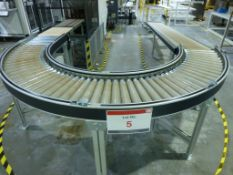 180 degree 415mm wide powered roller conveyor with 4m x 415mm wide gravity fed decline roller