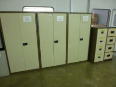 3 Bisley 1.8m high steel double door cupboards with 2 steel 4 drawer filing cabinets