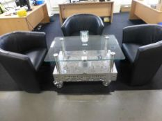 3 black leatherette tub armchairs