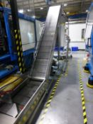 Flexkon 6.5m x 425mm plastic chain link elevating/cooling conveyor, s/n F-10129 (2008) with LMD