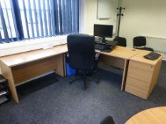 Furniture to CEO's Office to include, cherry effect 1800mm x 1200mm workstation with 2 three