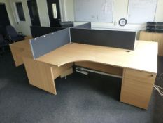 4 cherry effect 1600mm x 1200mm workstations with 3 matching 3 drawer pedestals and 4 x 400mm high