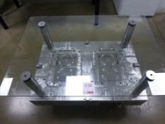 1000mm x 700mm x 575mm half mould glass top coffee table with wheels