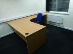 Furniture to F10 Office to include, cherry effect 1800mm x 1200mm workstation, cherry effect