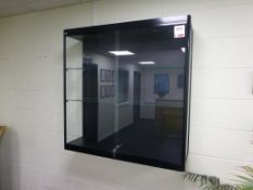 3 tier wall mounted lockable illuminated glazed display cabinet 1000mm x 300mm x 1000mm