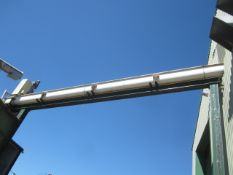 Unnamed elevating auger screw conveyor, make, model & serial no. too high to read, length approx.