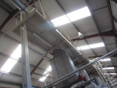 Unnamed approx. 14m stepped transfer conveyor, mounted on approx. 20m gantry platform, with ladder