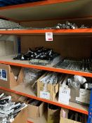 Contents of racking including plastic vents and steel latch units (please note: This lot is