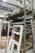 Two bays of galvanised steel adjustable boltless pallet racking, approx 2800mm width per bay, approx