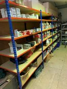 4 bays of medium duty warehouse racking 200cm x 190cm x 62cm deep complete with 5 shelves. NB -