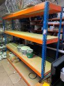 A single bay of medium duty racking 200cm x 240cm x 45cm, 4 shelves (please note: This lot is