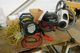 Two various Hoovers, assorted extension leads and jump leads (please note: This lot is located at