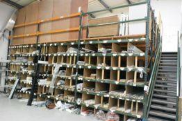 Total of nine bays of adjustable boltless pallet racking, approx 2800mm width per bay, 5000mm...