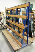 Steel frame, mobile A frame transport trolley, approx 2m in length (please note: This lot is located