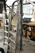 Two various aluminium A frame step ladder (please note: This lot is located at the Swindon