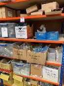 As lotted contents of rack including various door handles, white, chrome, gold, black (please