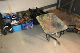 Assorted hand tools, trestles, two wheelbarrows, etc. (please note: This lot is located at the