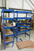 Two bays of adjustable boltless stores racking, approx 1m width (please note: This lot is located at