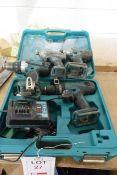 Three various Makita battery powered drills and one Erbauer battery powered drill, with charger &