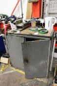 Steel frame 2 door cupboard and 240v roller/drill unit (out of commission, sold as spares/repairs