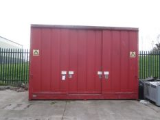 Empteezy Ltd triple sliding door chemical storage container, Dimensions approx: 4.8m x 1.7m x