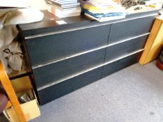Two 3-drawer black laminate chest drawers