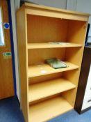Light wood 4 shelf bookcase