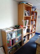 Three assorted light wood multi shelf cabinets and a light wood three shelf glass fronted cabinet